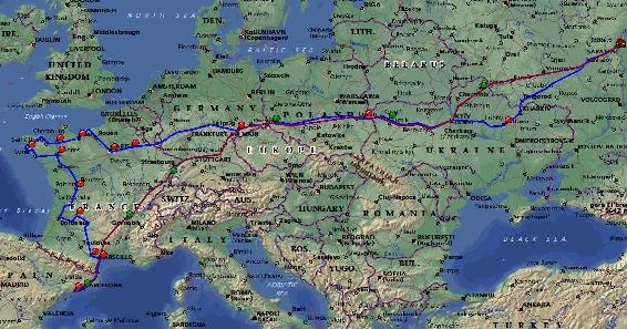 Наш маршрут, только от Саратова до Киева мы ехали тоже по красной линии.